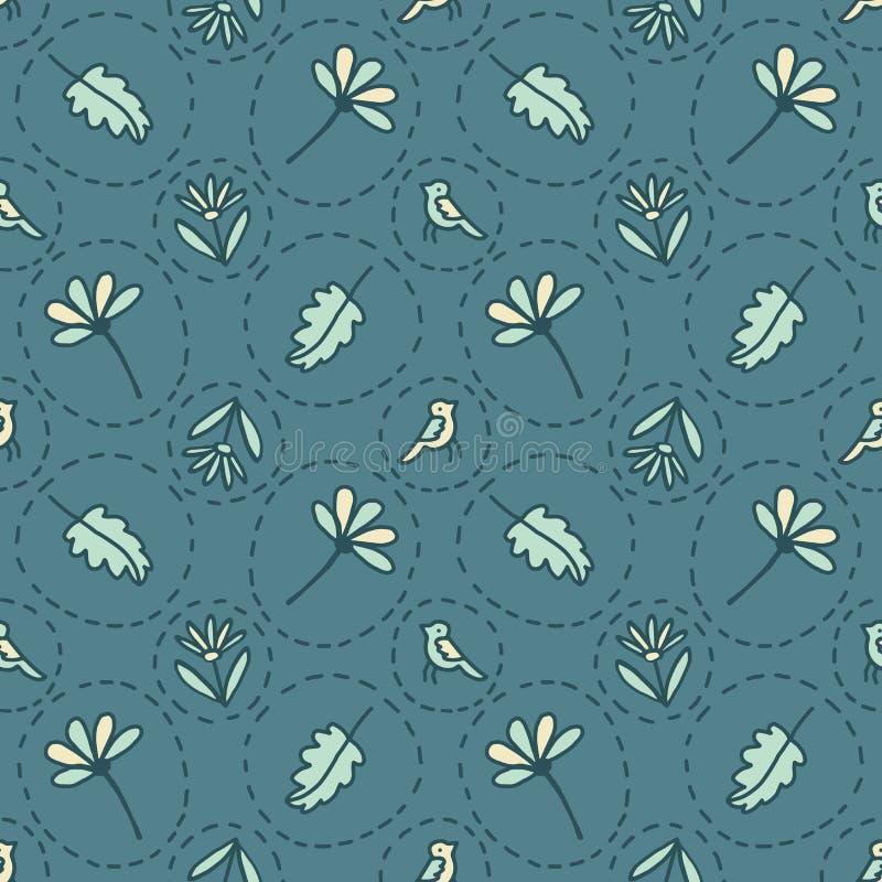 Uiterst klein Bloemenvogels Gespikkeld Naadloos Vectorpatroon Groene de Bloemcirkels van de Boholente vector illustratie