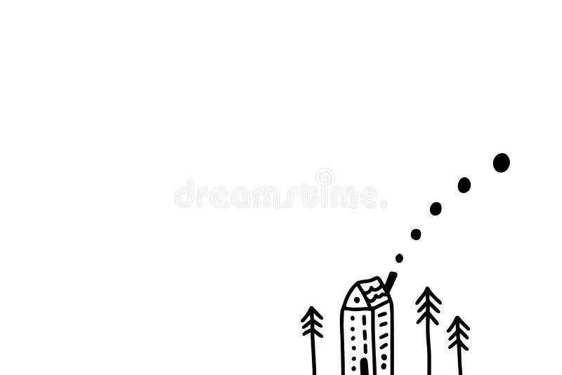 Uiterst klein huis en de nieuwe getrokken illustratie van jaarbomen hand in beeldverhaalstijl Minimalismkaart royalty-vrije stock afbeelding