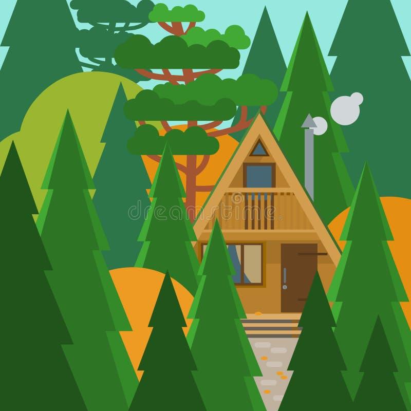 Uiterst klein a-Kader huis in de de herfst bos Vectorillustratie in vlakke stijl vector illustratie