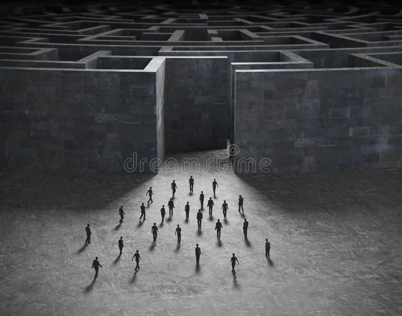 Uiterst kleine mensen die een labyrint ingaan vector illustratie