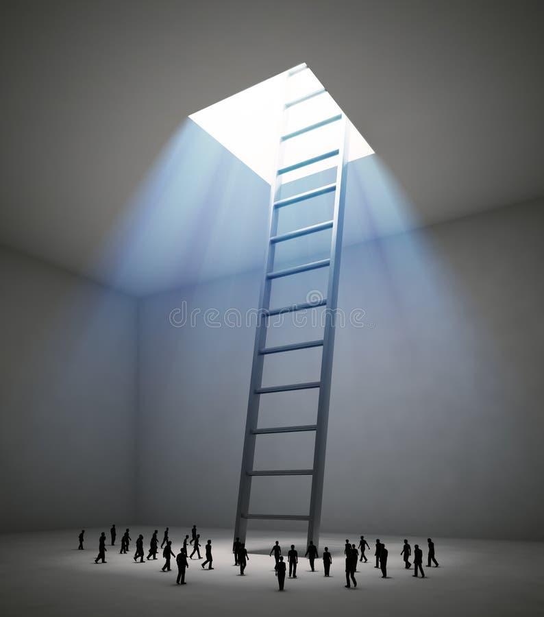 Uiterst kleine mensen die in richting van een ladder lopen vector illustratie