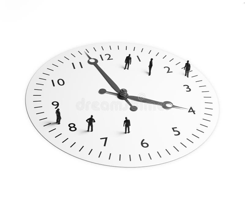 Uiterst kleine mensen die zich rond een klok bevinden stock illustratie