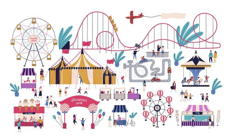 Uiterst kleine mensen in pretpark met diverse aantrekkelijkheden, ritten, circustent, kart spoor, boxen met gesponnen suiker en i royalty-vrije illustratie