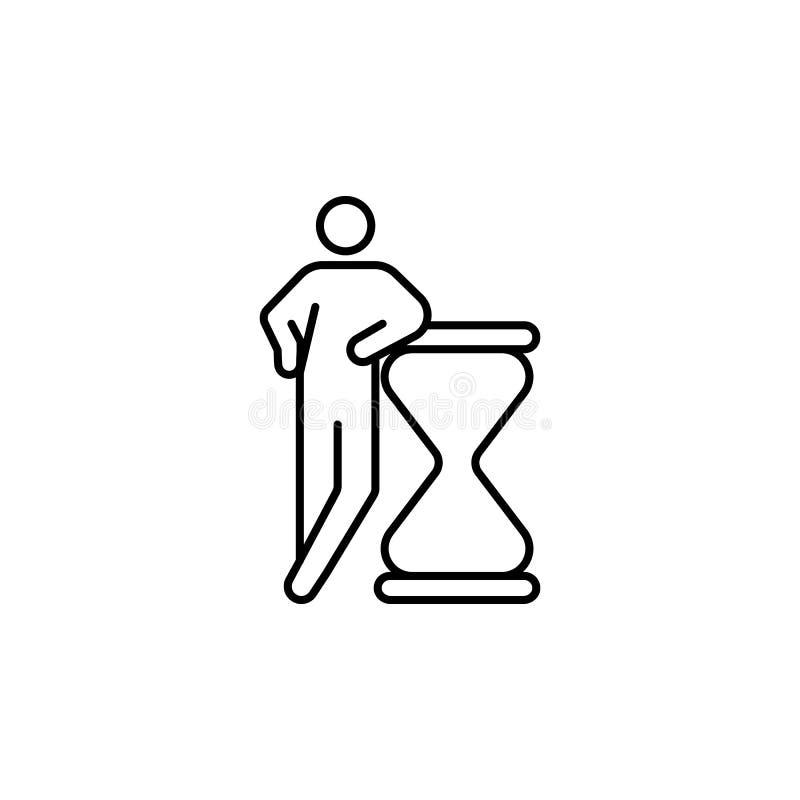 uiterste termijn, zandloperpictogram Element van conceptuele cijfers voor mobiele concept en Web apps illustratie Dun lijnpictogr royalty-vrije illustratie