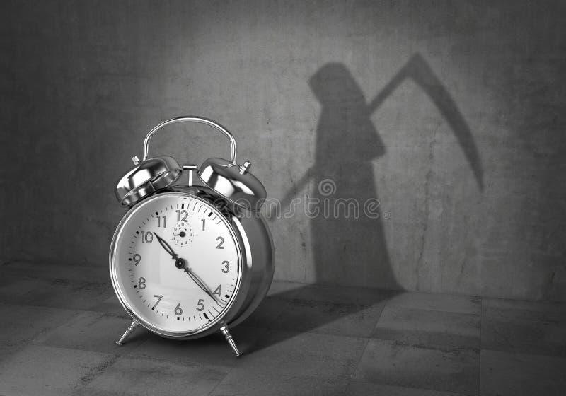 Uiterste termijnconcept Tijd aan het leven Wekker gegoten schaduw in vorm van dood met zeis 3d royalty-vrije illustratie