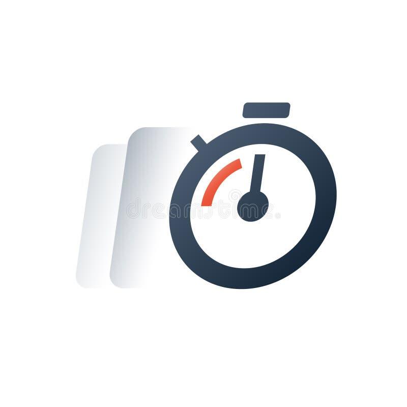 Uiterste termijntijdopnemer, snelle tijdmotie, snelle levertijd, chronometeronderbreking, opleidingssessie vector illustratie