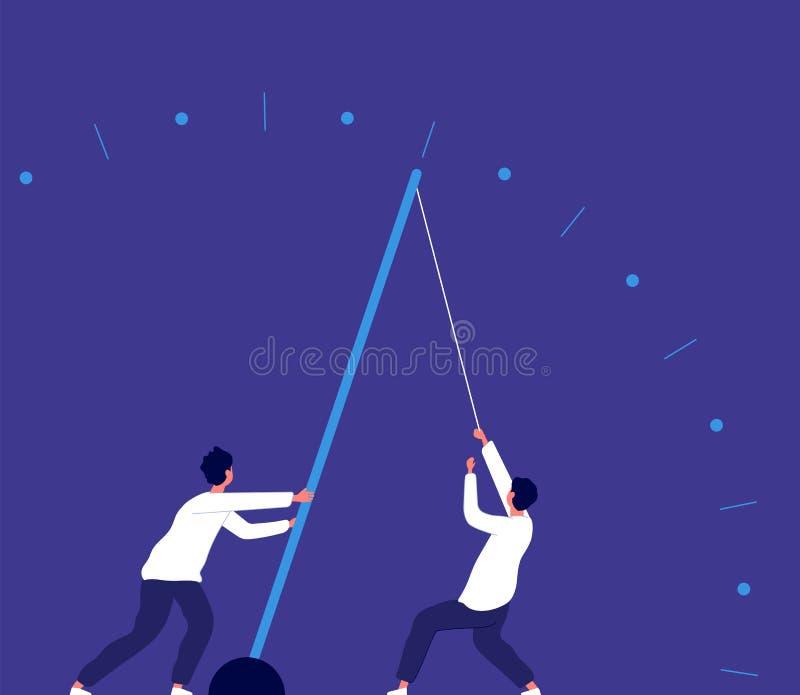 Uiterste termijnurgentie Mens die klokpijl, haast opheffen De inspanning van de teammacht en van de bedrijfs economiegroei vector vector illustratie