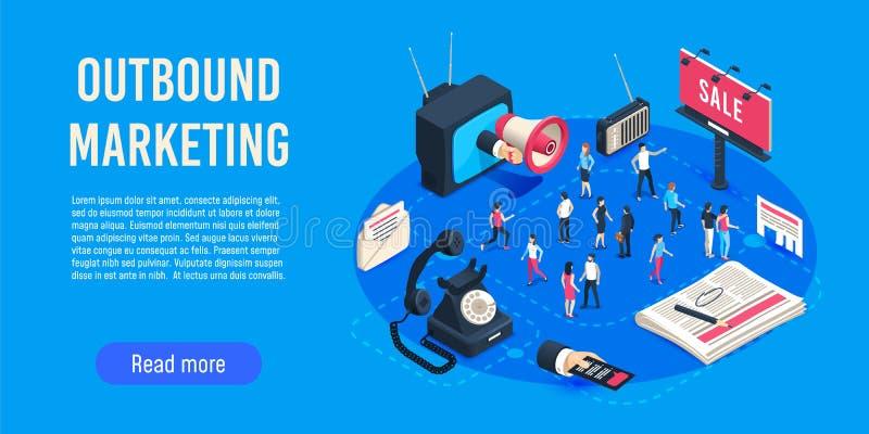 Uitgaande isometrische marketing De optimalisering van de bedrijfsmarktverkoop, collectieve crm en sociale media advertentiesmede vector illustratie