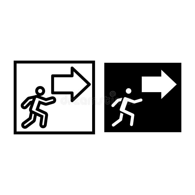 Uitgang met de lijn en glyph het pictogram van het pijlteken Evacuatie vectordieillustratie op wit wordt geïsoleerd De stijl van  royalty-vrije illustratie