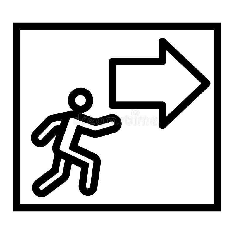 Uitgang met de lijnpictogram van het pijlteken Evacuatie vectordieillustratie op wit wordt geïsoleerd De stijlontwerp van het noo vector illustratie