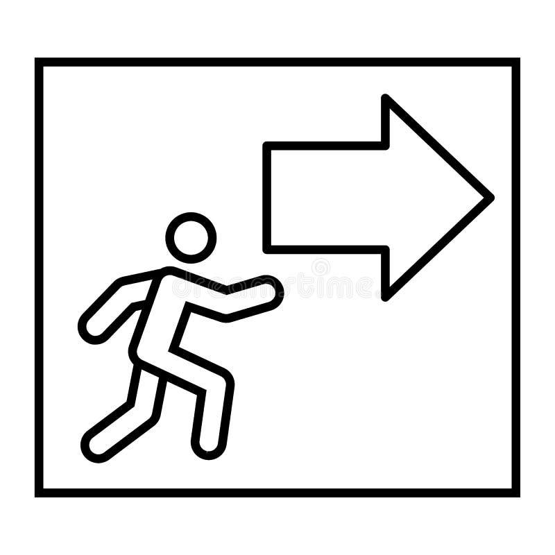 Uitgang met dun de lijnpictogram van het pijlteken Evacuatie vectordieillustratie op wit wordt geïsoleerd De stijlontwerp van het royalty-vrije illustratie