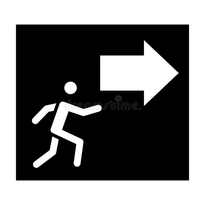 Uitgang met het stevige pictogram van het pijlteken Evacuatie vectordieillustratie op wit wordt geïsoleerd Het ontwerp van de noo royalty-vrije illustratie