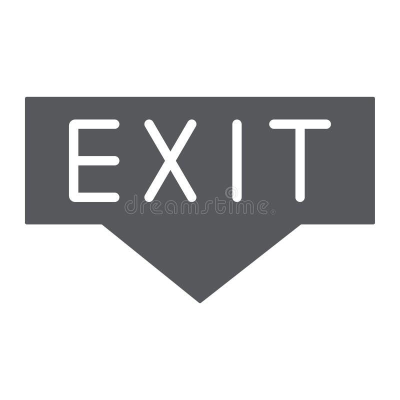 Uitgangs glyph pictogram, noodsituatie en deuropening, evacuatieteken, vectorafbeeldingen, een stevig patroon op een witte achter stock illustratie