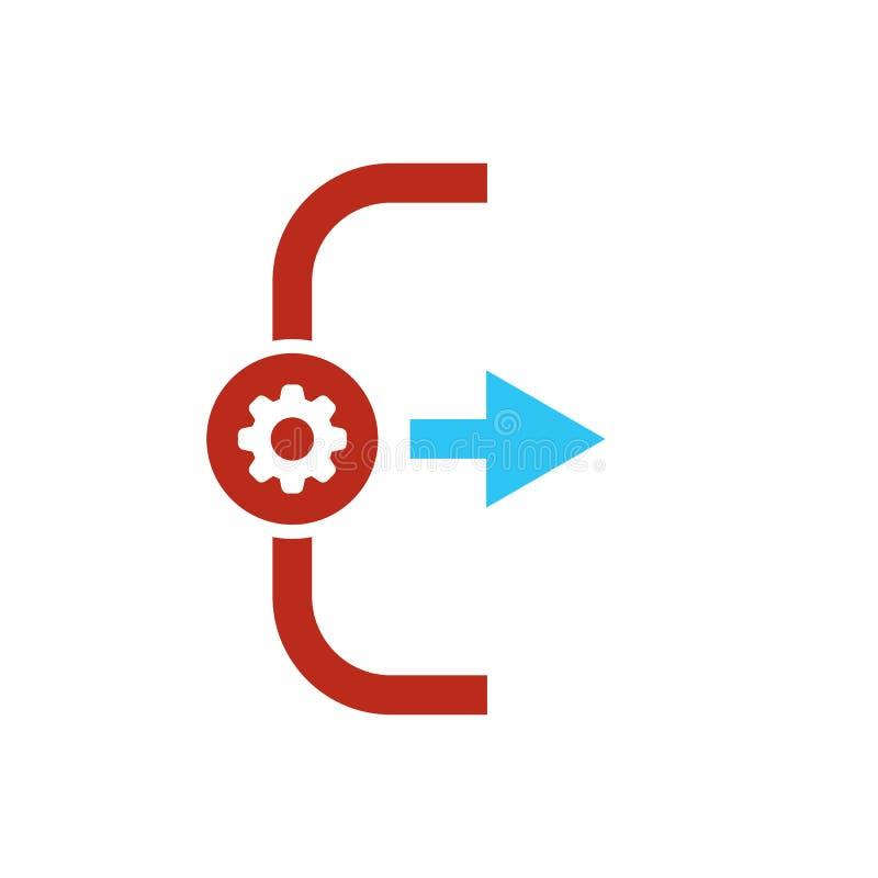 Uitgangspictogram, Logout en outputpictogram met montagesteken Het uitgangspictogram en past, opstelling, leidt, verwerkt symbool royalty-vrije illustratie