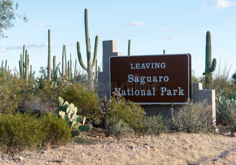 Uitgangsteken van het Park van West- saguaro Nationaal Tucson royalty-vrije stock foto's