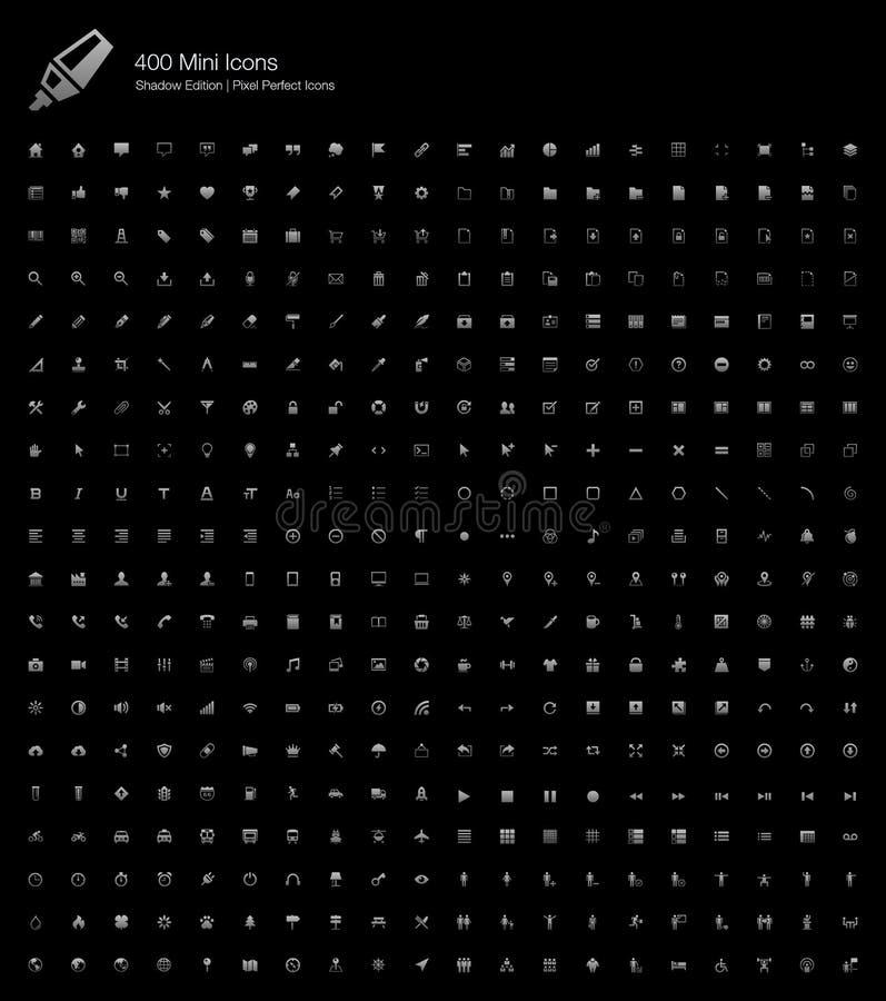 Uitgave van de 400 de Perfecte Pictogrammenschaduw van Mini Small Simple Web Pixel royalty-vrije illustratie