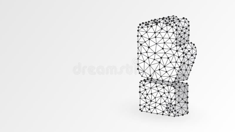 Uitgebreid eerste model Zakelijke kracht, menselijke kracht, succesconcept Abstract, digitaal, wireframe, laag poly mesh royalty-vrije illustratie