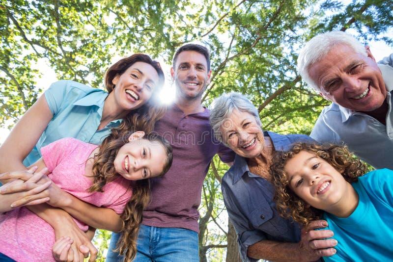 Uitgebreide familie die in het park glimlachen royalty-vrije stock foto