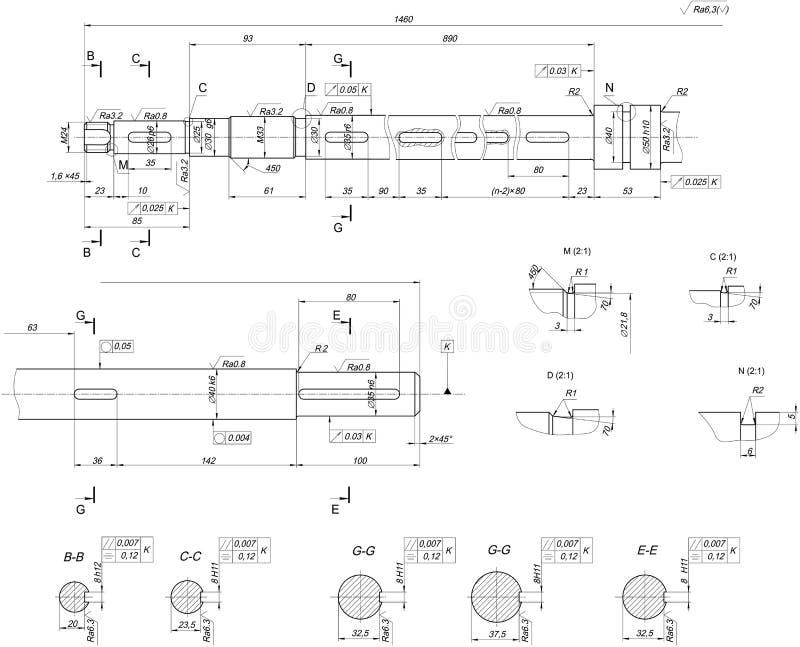 Uitgebreide schachtschets Toestel, schakelnet, potlood en ontwerp stock illustratie