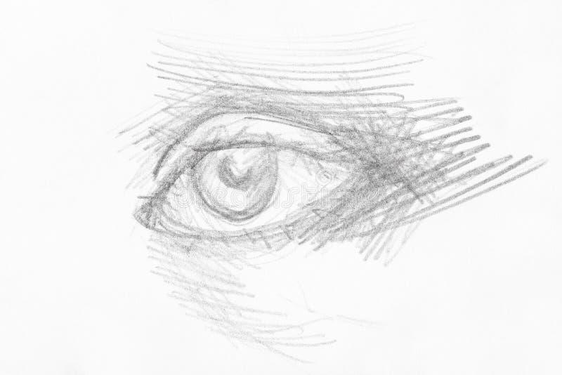 Uitgebroede die schets van ooghand door zwart potlood wordt getrokken vector illustratie
