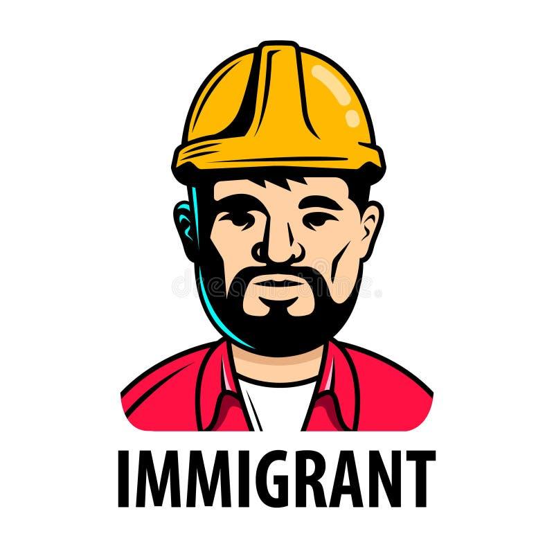 Uitgenodigde mannelijke immigrantenbouwer teken van het huren royalty-vrije illustratie