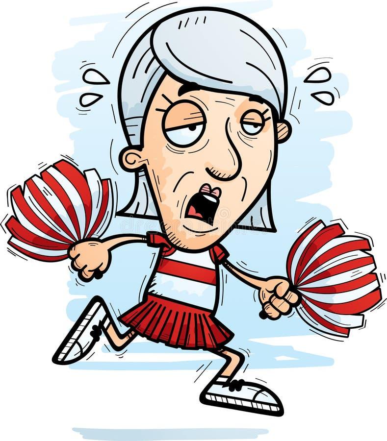 Uitgeput Beeldverhaalbejaarde Cheerleader stock illustratie