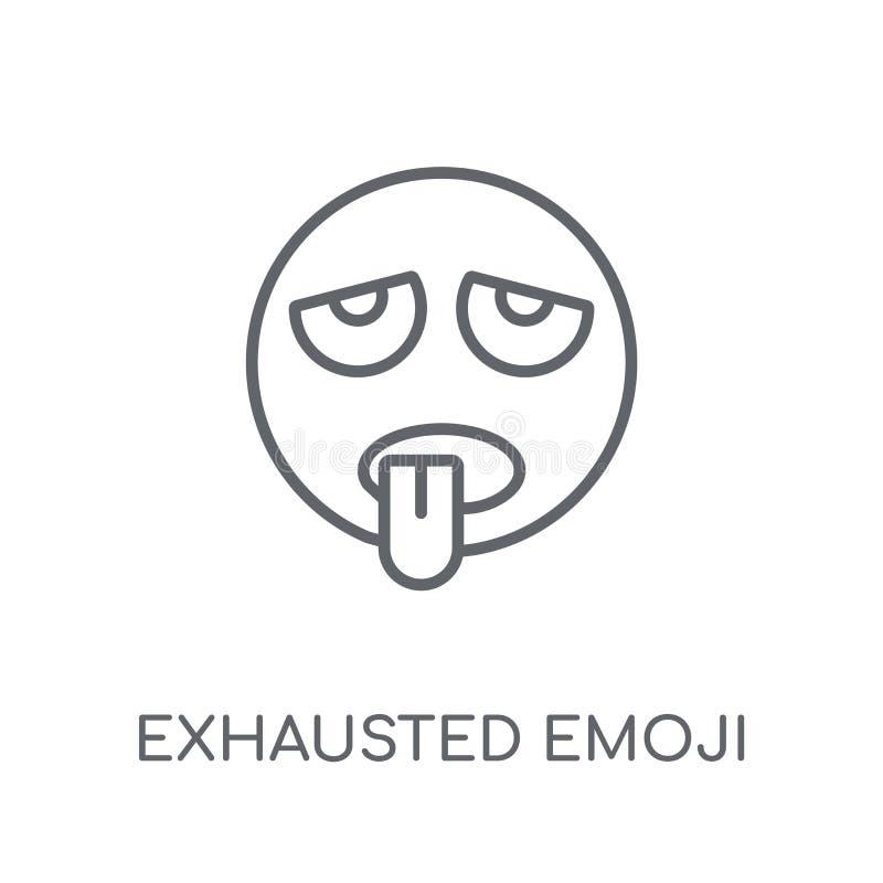 Uitgeput emoji lineair pictogram Modern overzicht Uitgeput emojiembleem royalty-vrije illustratie