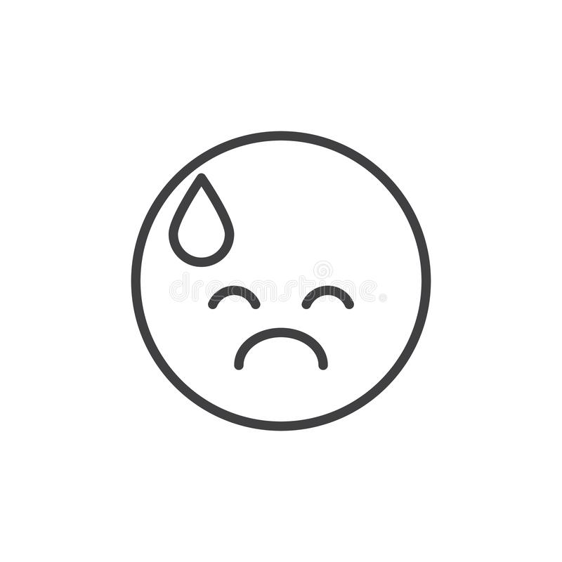 Uitgeput emoticon schets pictogram vector illustratie