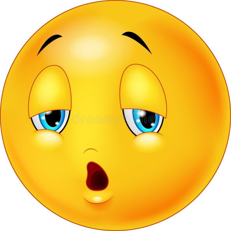 Uitgeput en vermoeid emoticon op achtergrond vector illustratie