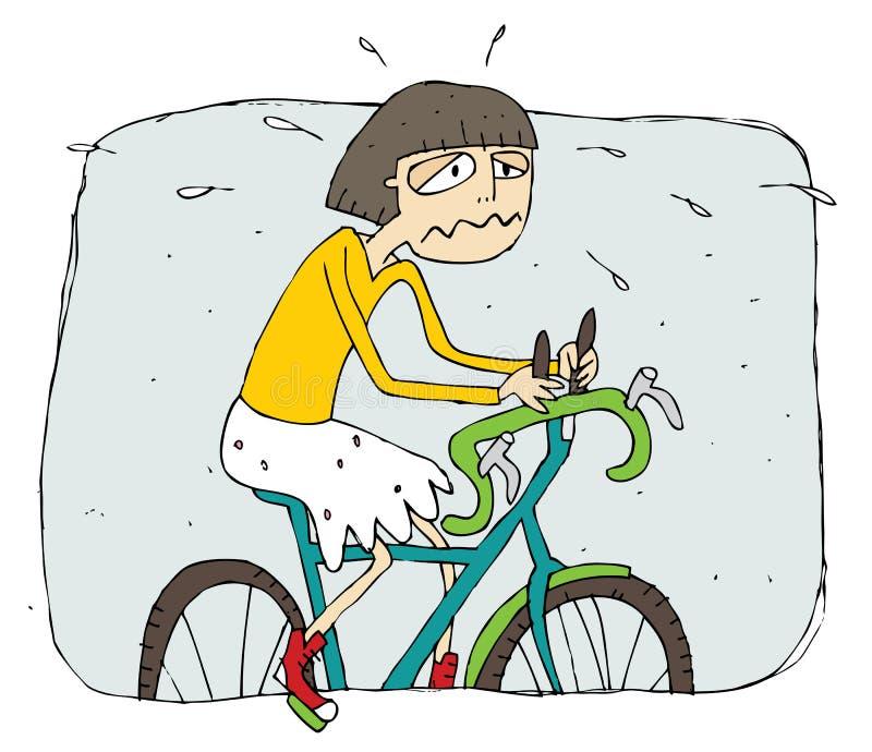 Uitgeput meisje die een fietsbeeldverhaal berijden stock illustratie