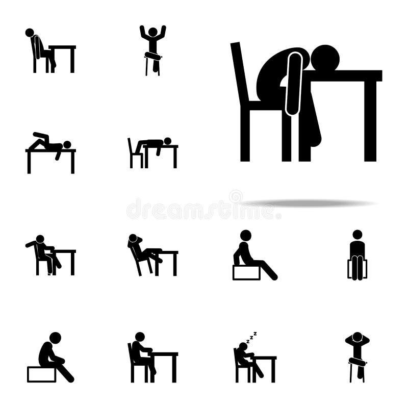uitgeput, mens, slaappictogram Mensenzitting op voor Web wordt geplaatst dat en mobiel pictogrammenalgemeen begrip royalty-vrije illustratie