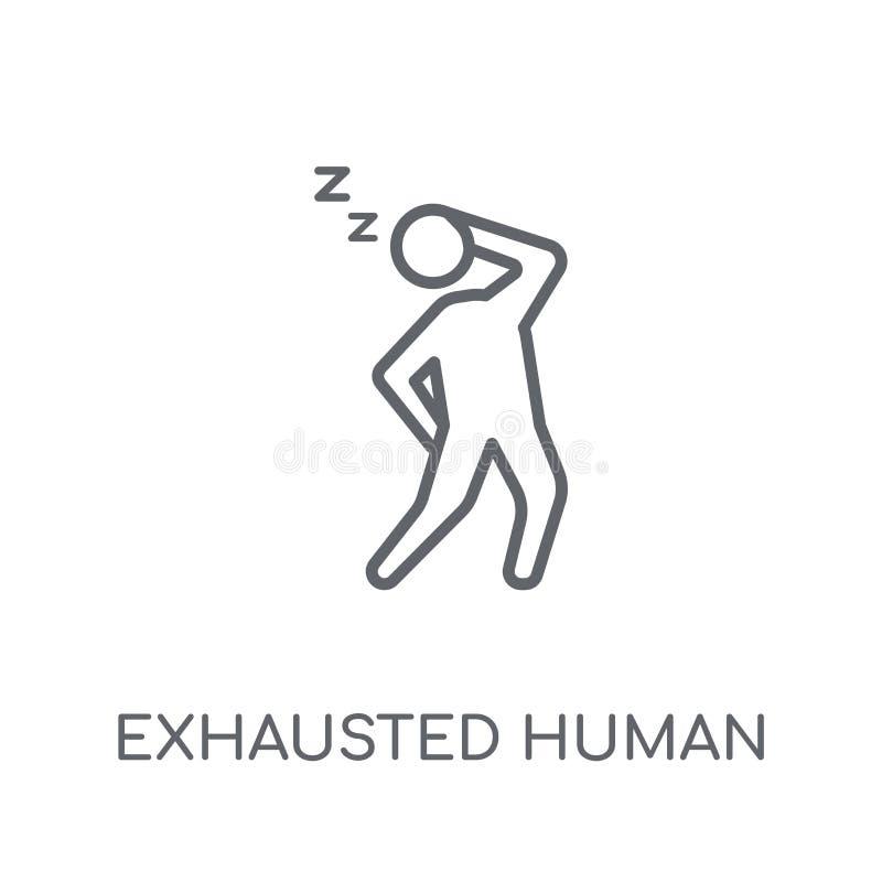uitgeput menselijk lineair pictogram Het moderne overzicht putte menselijk embleem uit vector illustratie