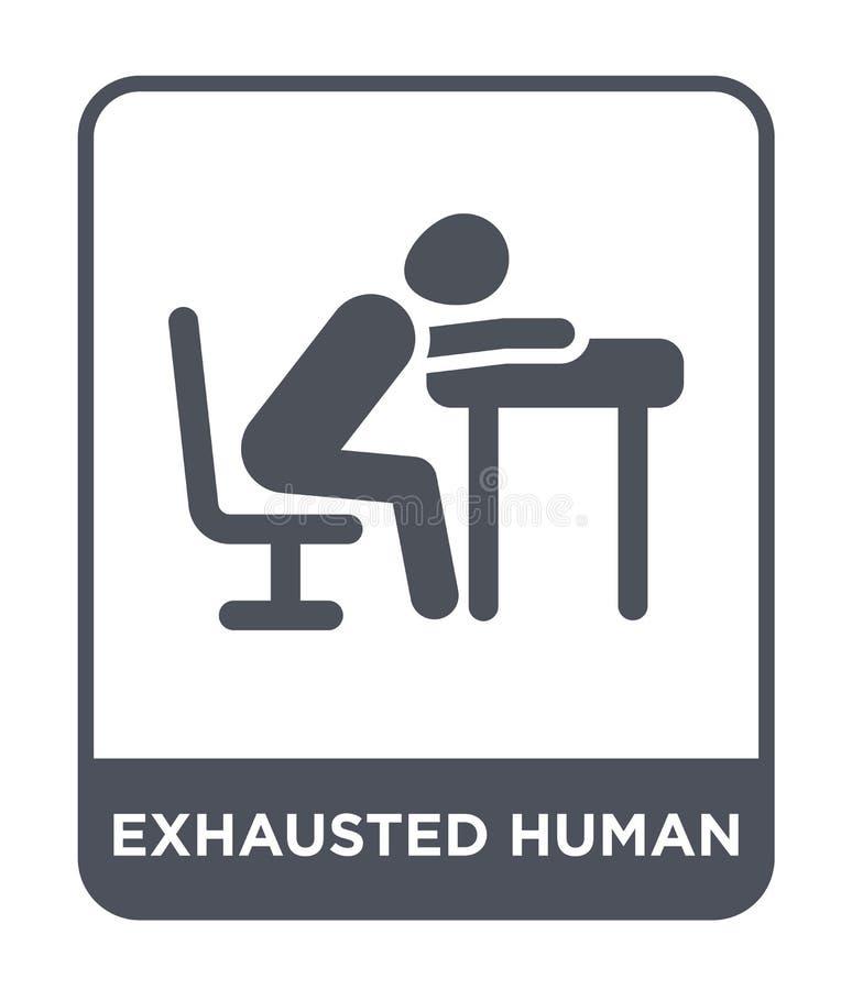 uitgeput menselijk pictogram in in ontwerpstijl uitgeput menselijk die pictogram op witte achtergrond wordt geïsoleerd uitgeput m stock illustratie