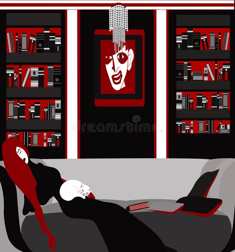Uitgeput van lezing, die op de bank rusten vector illustratie