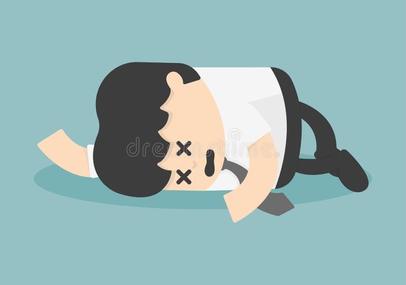 Uitgeputte en vermoeide zakenmanslaap royalty-vrije illustratie
