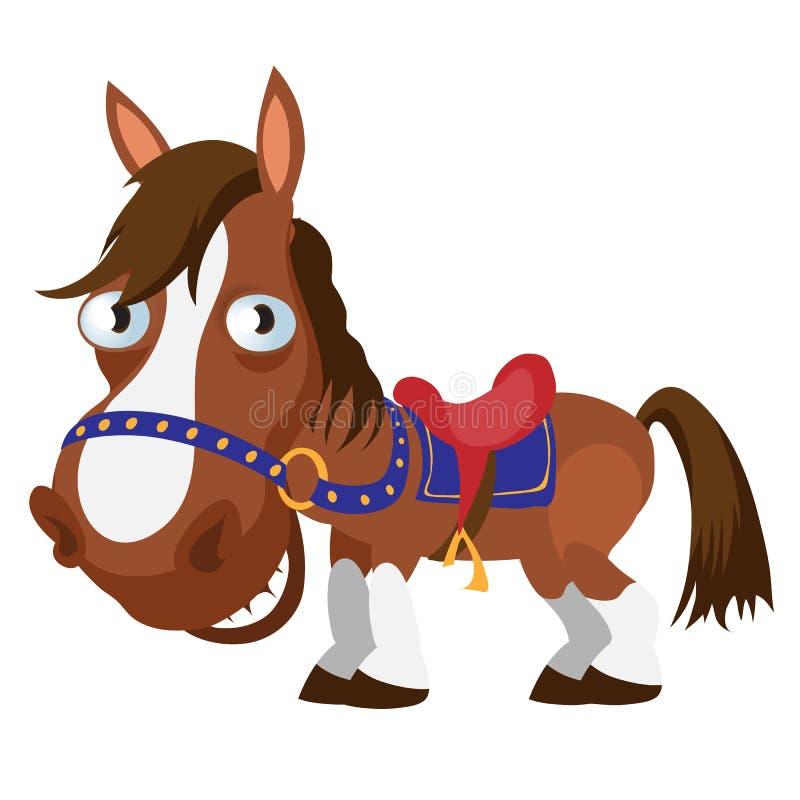 Uitgerust bruin paard, beeldverhaalbeeld royalty-vrije illustratie