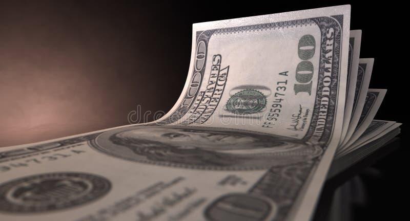 Uitgespreide Amerikaanse dollarbankbiljetten stock foto