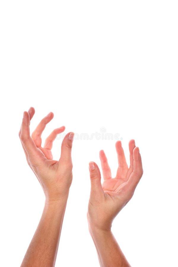 Uitgestrekte lege handen stock afbeeldingen
