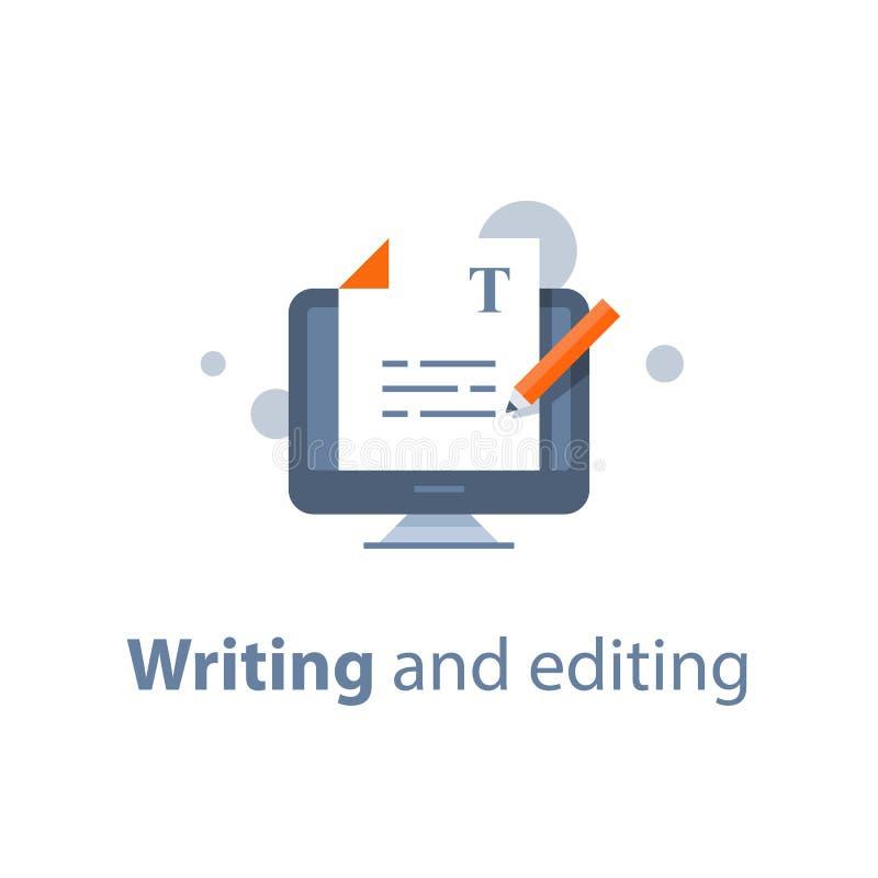 Uitgevend tekstdocument, online onderwijs, het creatieve schrijven en het storytelling, copywriting concept vector illustratie