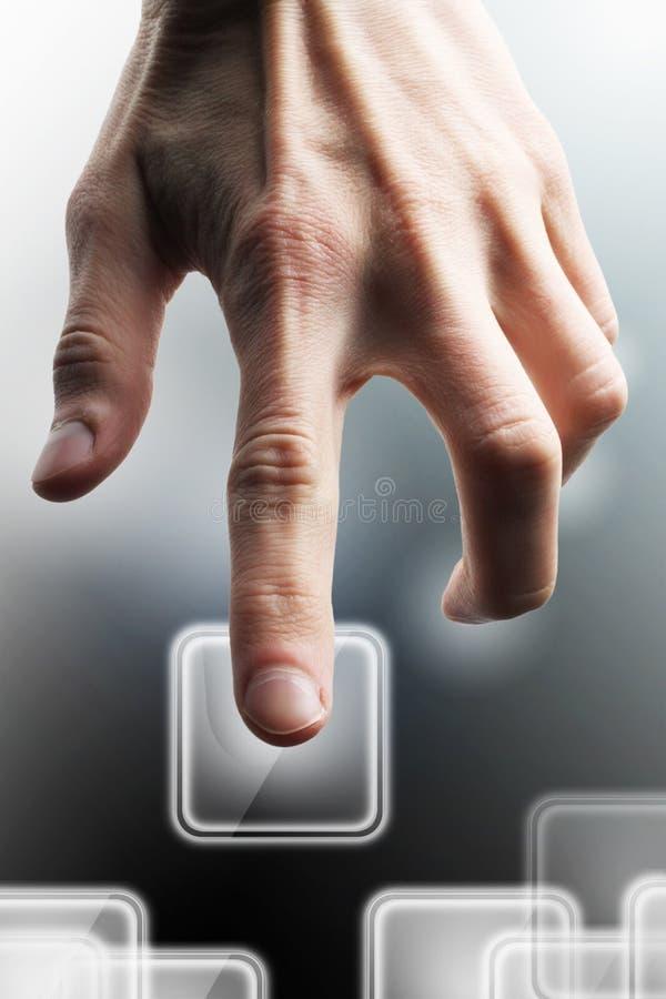 Uitgezochte hand. Het scherm van de aanraking stock foto