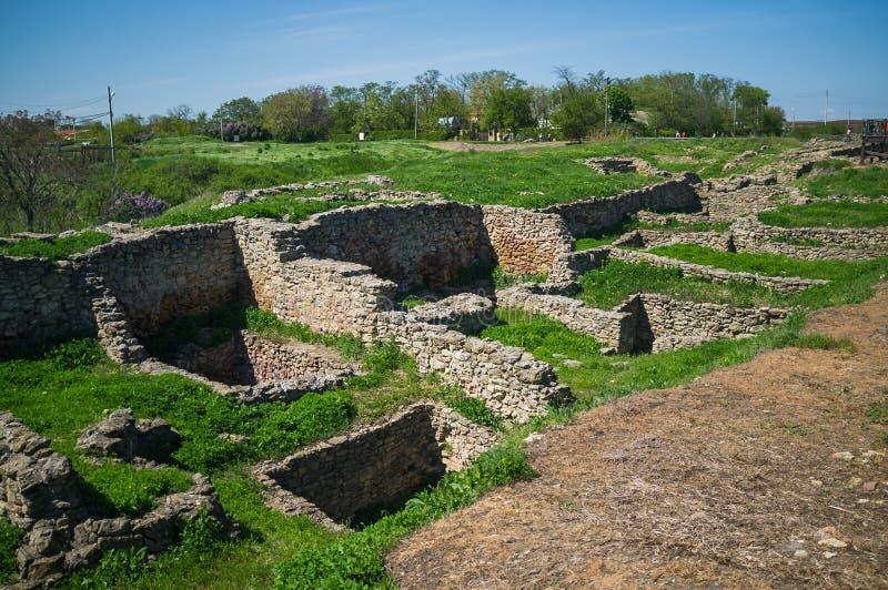 Uitgraving van oude steenbouw, huizen en structuren royalty-vrije stock foto