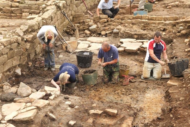 Uitgravingen in Roman Vindolanda stock afbeelding