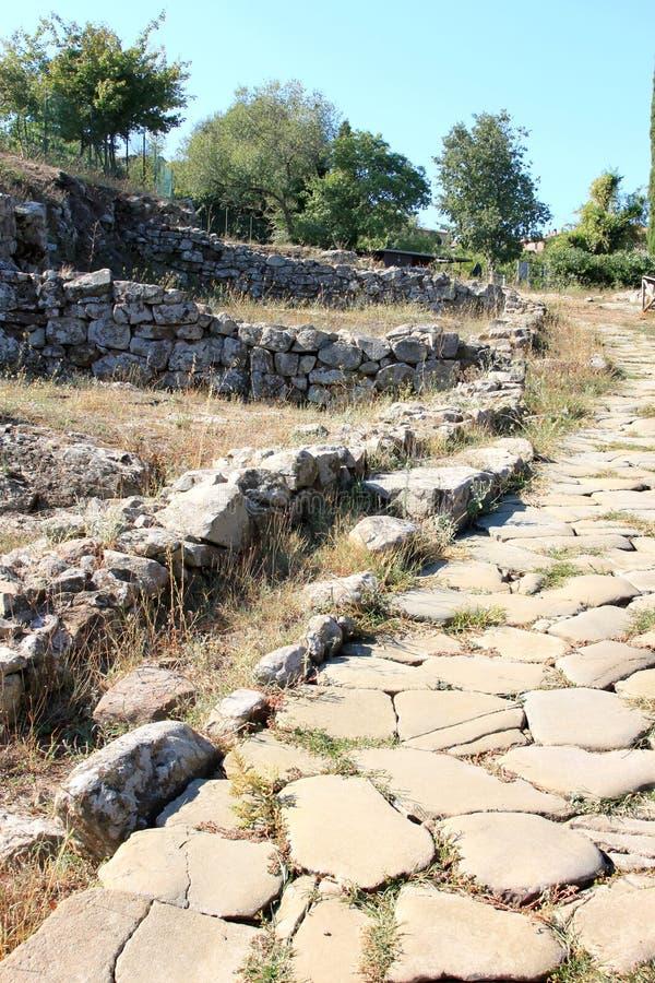 Uitgravingen van de oude stad van Vetulonia, Italië royalty-vrije stock foto's