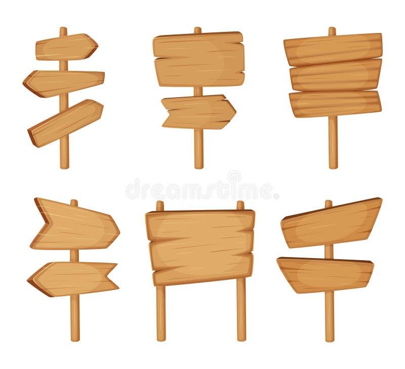 Uithangbord met houten textuur Vectorreeks Houten pijlen en lege tekens van de wegrichting royalty-vrije illustratie