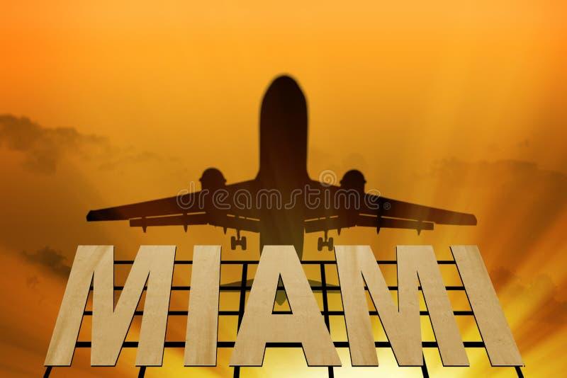 Uithangbord van het silhouet van Miami en van het vliegtuig royalty-vrije stock afbeelding