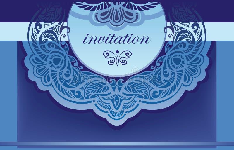 Uitnodiging in blauw. Vector achtergrond voor de inham royalty-vrije stock fotografie