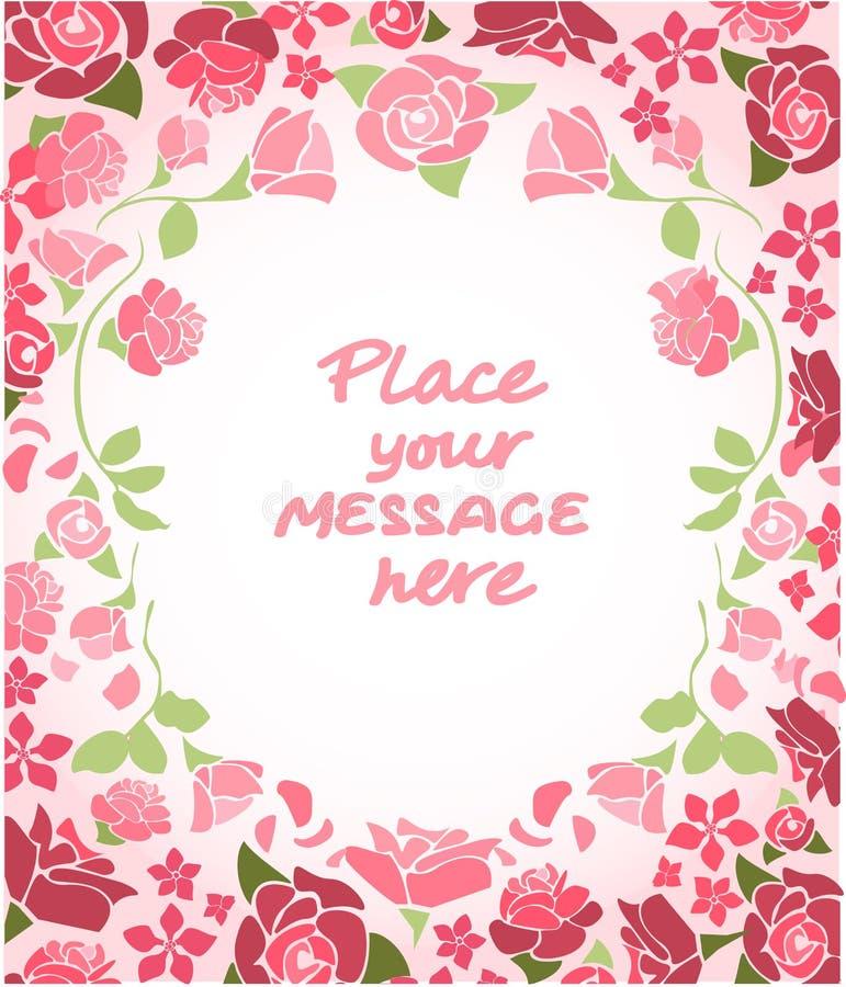 uitnodiging De kaart van het huwelijk of van de verjaardag Bloemen frame De achtergrond van de waterverf met bloemen royalty-vrije illustratie