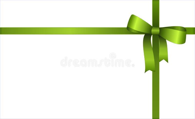 Uitnodiging, Groet of Giftkaart met Groen Lint en een Boog op witte achtergrond Het Malplaatje van de giftbon met plaats voor tek royalty-vrije illustratie
