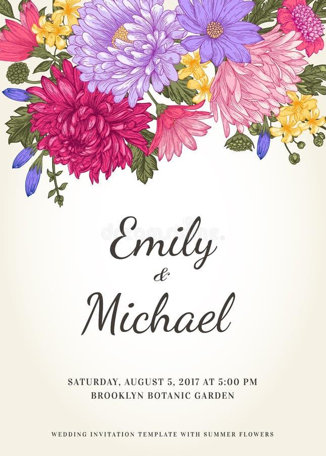 Uitnodiging met bloemen stock illustratie