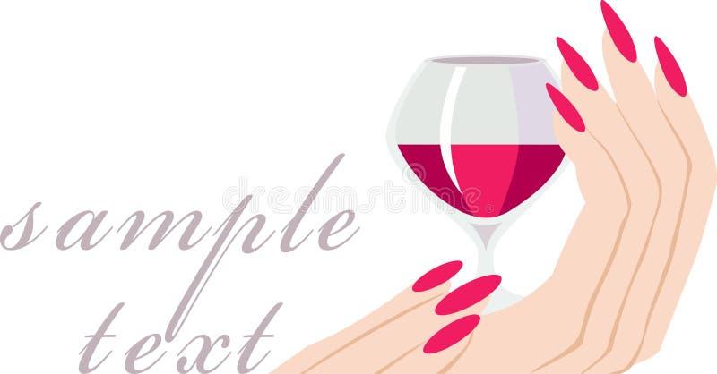 Uitnodiging met een glas wijn royalty-vrije illustratie